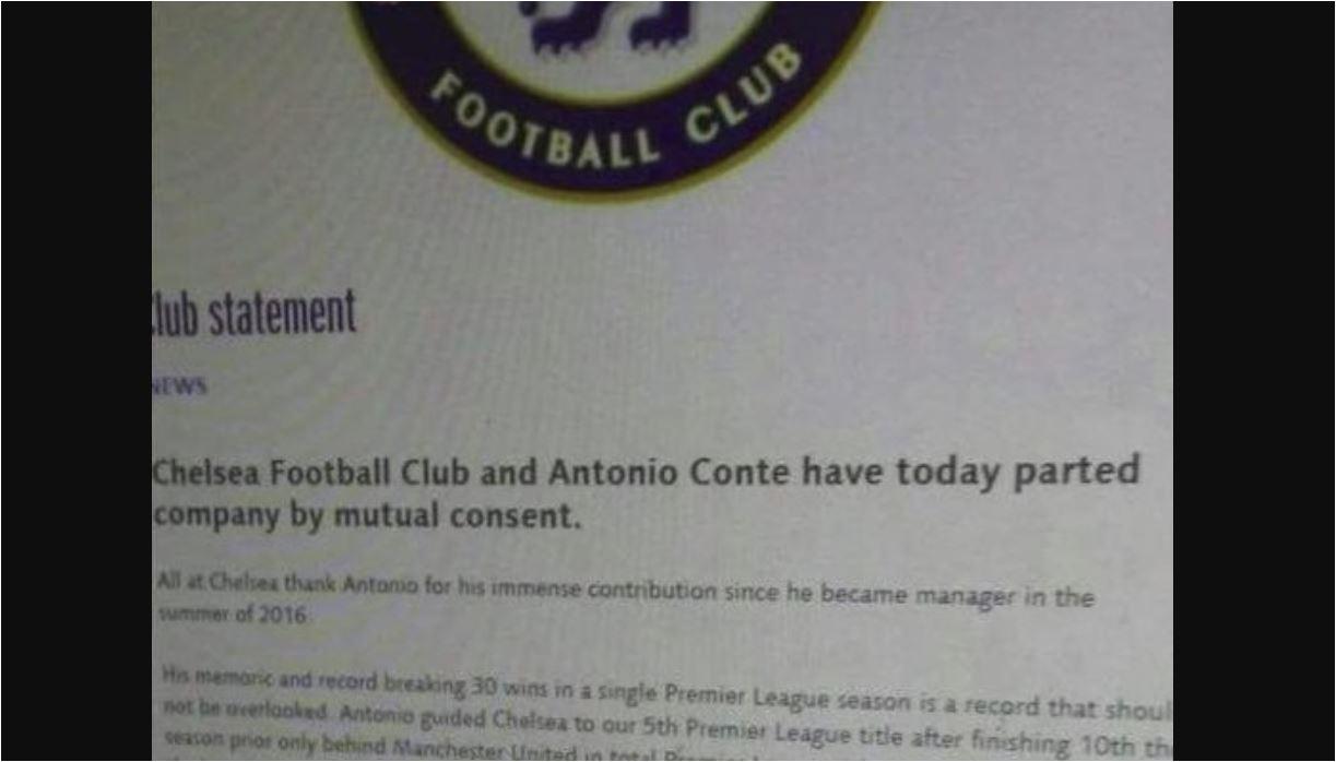 Inilah surat pemecatan Antonio Conte yang viral di Internet pada Senin malam