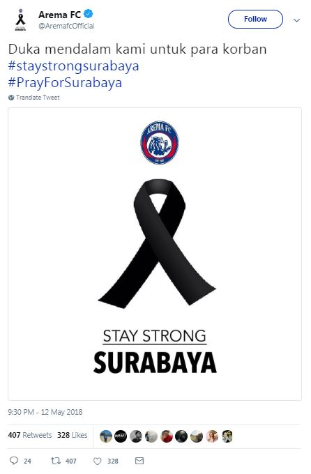 Arema FC Turut Berduka atas Teror Bom Surabaya