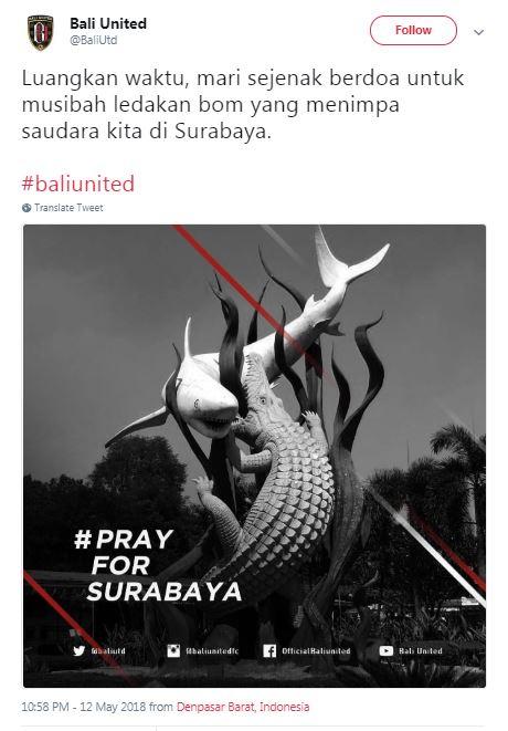 Bali United Sampaikan Bela Sungkawa dan Mengutuk Aksi Teror Bom Surabaya