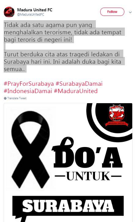 Duka Cita Madura United, Teror Bom Surabaya
