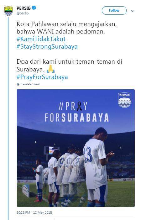 Persib Bandung Turut Berduka, Teror Bom Surabaya