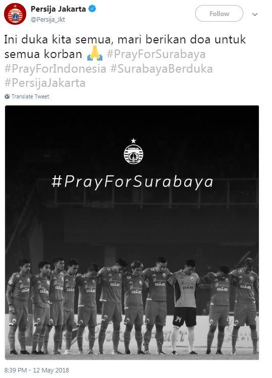 Persija Jakarta Berduka, Teror Bom Surabaya