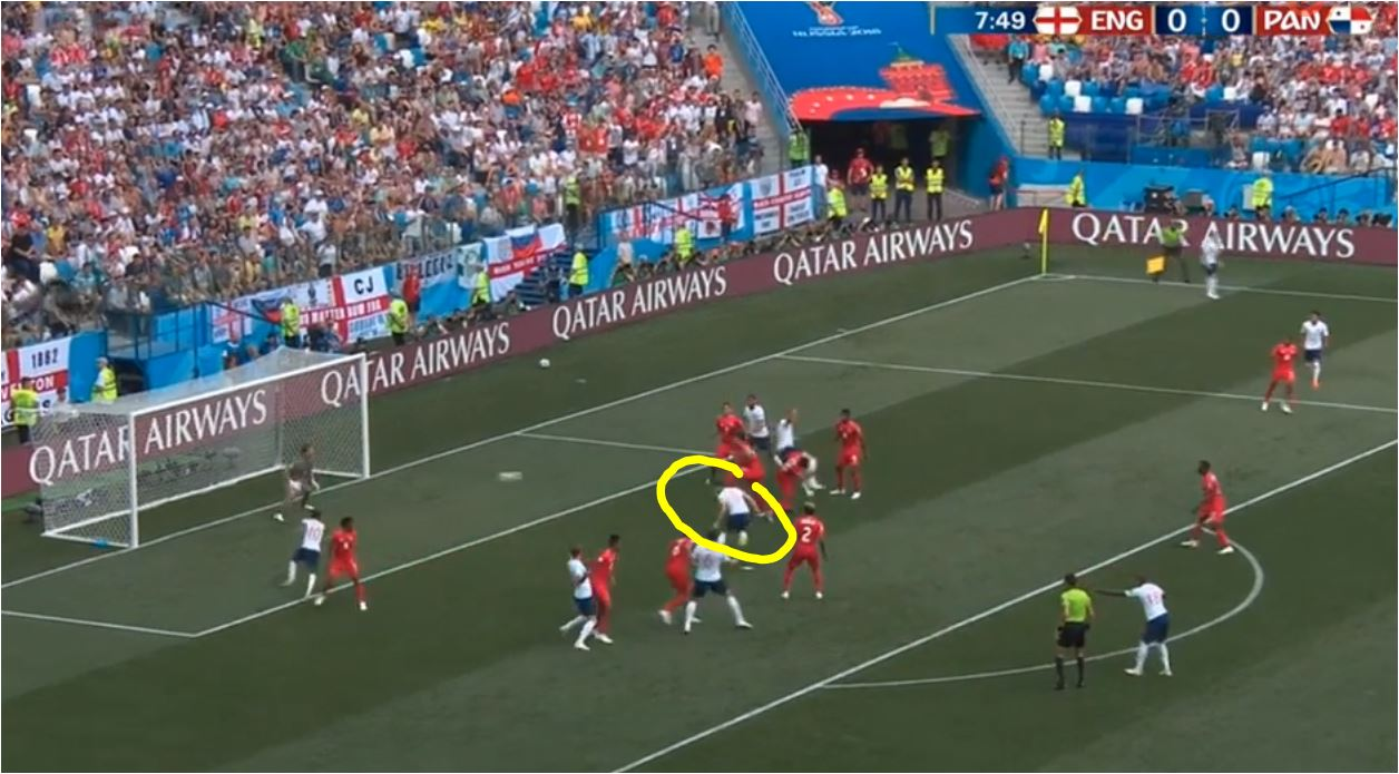 Gol Pertama Inggris vs Panama: Perhatikan semua pemain menyingkir ke kiri dan kanan sembari menyerat para pemain Panama. Tak ada pemain Inggris yang menyambut bola, tapi memberi ruang bagi John Stones masuk dan menanduk bola.