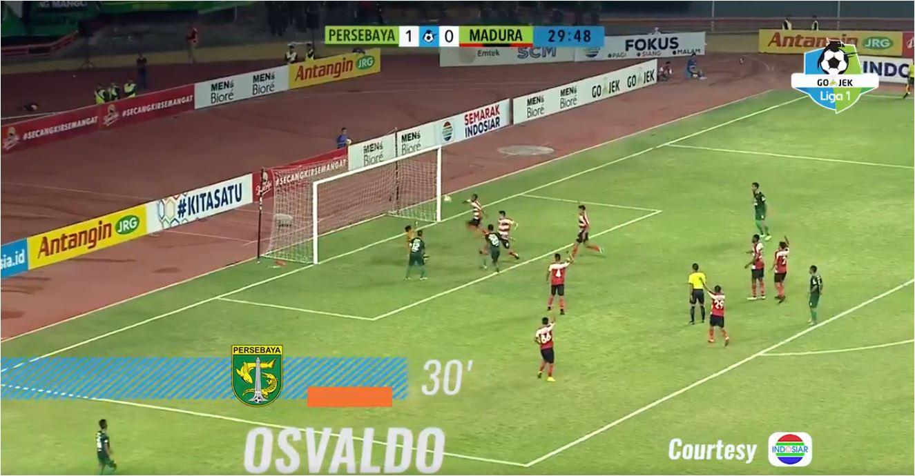 Gol Osvaldo Haay, Persebaya vs Madura United, Liga 1 Indonesia