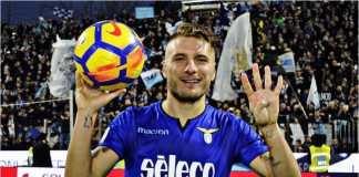 Ciro Immobile merayakan gol keempatnya bagi Lazio pada laga Liga Italia di kandang SPAL, Sabtu malam WIB