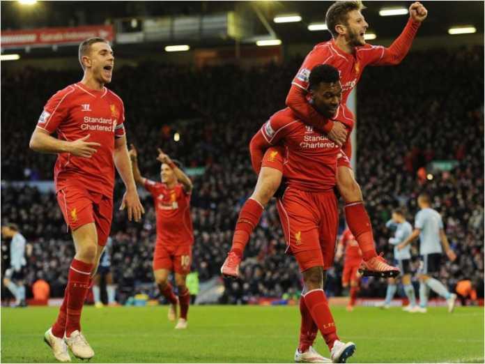 Daniel Sturridge merayakan satu golnya bersama rekan setim di Liverpool. Ia pindah ke West Brom pada hari Selasa.