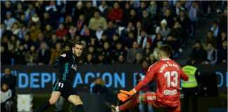 Gareth Bale mencetak dua gol dalam rentang tiga menit bagi Real Madrid, dalam laga Liga Spanyol melawan Celta Vigo, Senin dinihari