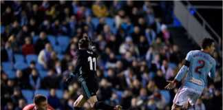 Gareth Bale merayakan gol pertamanya bagi Real Madrid pada laga Liga Spanyol di Celta Vigo, Senin dinihari