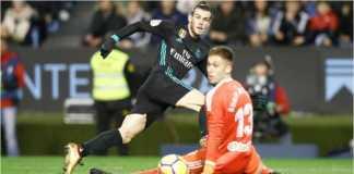 Gareth Bale mencetak gol pertamanya bagi Real Madrid pada laga LIga Spanyol di Celta Vigo, Senin dinihari