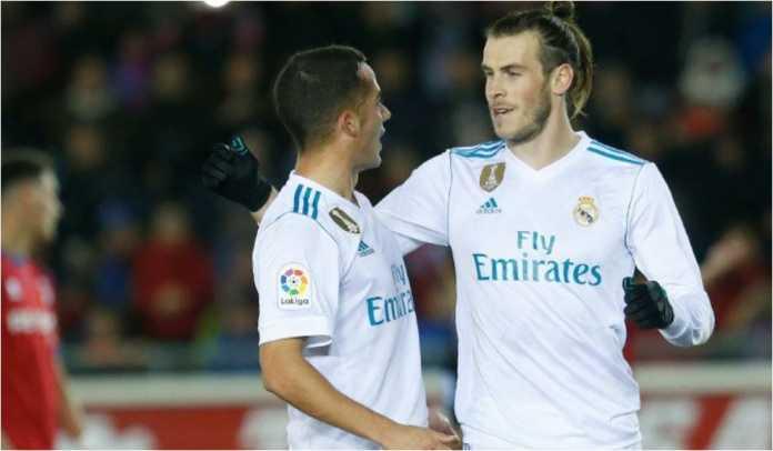 Gareth Bale merayakan gol pertama Real Madrid di ajang 16 besar Copa del Rey tadi malam di kandang Numancia