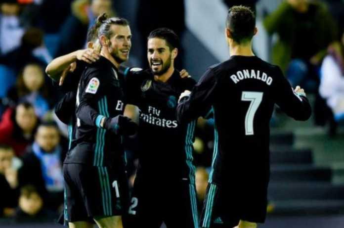 Gareth Bale saat merayakan gol keduanya bersama Isco dan Ronaldo dalam laga lanjutan Liga Spanyol pekan ke 18 antara Celta Vigo vs Real Madrid