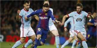 Lionel Messi dikurung tiga pemain Celta Vigo sekaligus dalam pertarungan leg kedua Copa del Rey babak 16 besar di Camp Nou, Jumat dinihari