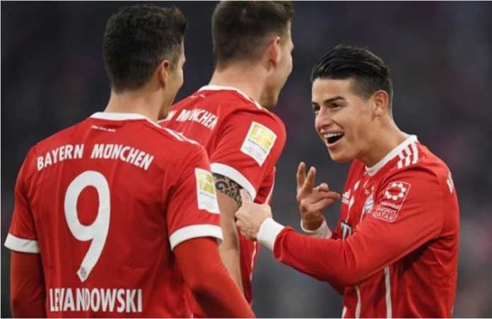 Sudah 2 gol? Saya akan bikin 2 assist! Reaksi James Rodriguez usai Robert Lewandowski mencetak dua gol bagi Bayern Munchen saat menjamu Werder Bremen, Minggu malam