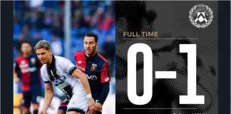 10 pemain Udinese berhasil menang 1-0 atas tuan rumah Genoa pada lanjutan Liga Italia, Minggu 28 Januari 2018