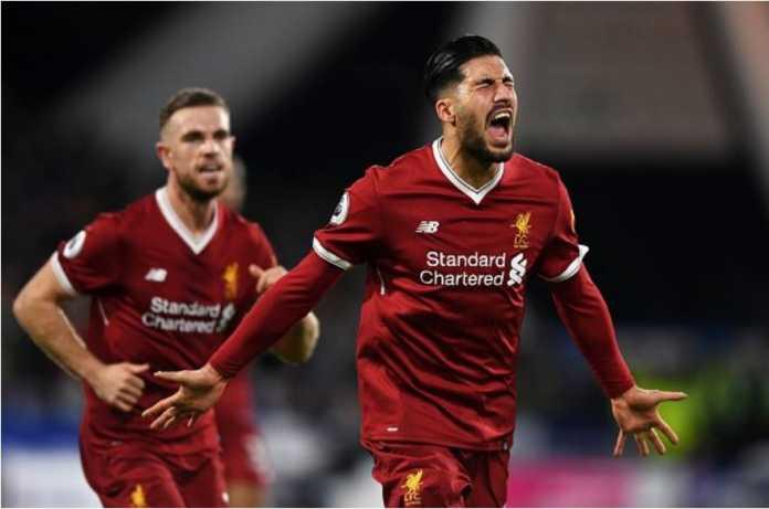 Emre Can merayakan golnya untuk Liverpool saat mereka tandang ke Huddersfield pada pekan ke-25 Liga Inggris, Rabu dinihari.