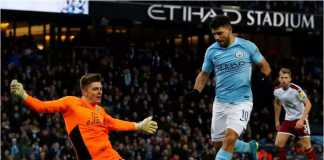 Sergio Aguero, yang kelihatan sedikit lebih gemuk, mencetak gol keduanya bagi Manchester City pada laga Piala FA putaran ketiga melawan Burnley, Sabtu malam WIB