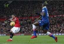 Tendangan kaki kanan Anthony Martial memberi gol kedua bagi Manchester United dalam laga Liga Inggris melawan Stoke City, Selasa dinihari