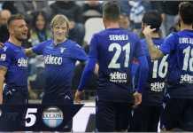 Striker Lazio Ciro Immobile merayakan hattrick empat golnya ke gawang SPAL, Sabtu malam WIB di ajang Liga Italia
