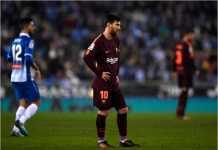 Lionel Messi gagal mencetak gol dari titik penalti dalam laga Copa del Rey melawan Espanyol, Kamis