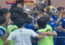 Para pemain Persib Bandung merayakan gol Oh -In-Kyun dalam laga Grup A Piala Presiden 2018 melawan Sriwijaya FC.