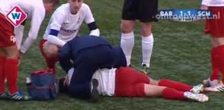 Wasit hajar muka pemain bola Mitchell van Gastel hingga patah hidungnya.