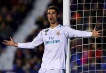 Cristiano Ronaldo mencetak hat-trick dalam laga Liga Spanyol antara Real Madrid vs Real Sociedad