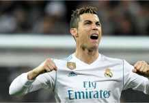 Cristiano Ronaldo merayakan salah satu golnya di ajang Liga Spanyol.