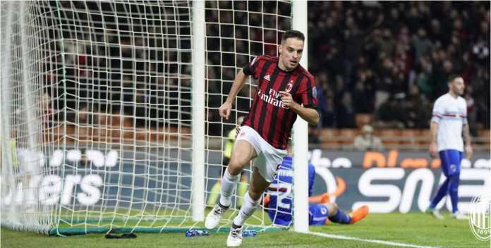 Giacomo Bonaventura mencetak gol bagi AC Milan pada laga Liga Italia, Senin 19 Februari 2018, melawan Sampdoria, yang usai dengan skor 1-0.