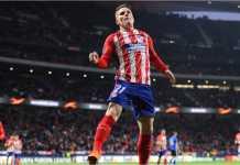 Kevin Gameiro merayakan gol yang terbukti menjadi satu-satunya gol Atletico Madrid pada leg kedua laga babak 32 besar Liga Europa, Jumat, melawan Copenhagen di Wanda Metropolitano.
