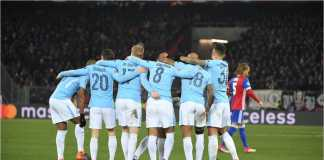 Para pemain Manchester City merayakan gol kedua Ilkay Guendogan ke gawang Basel pada leg pertama babak 16 besar Liga Champions, Rabu 14 Februari 2018.