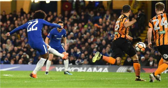 Willian mencetak gol bagi Chelsea pada detik 106 laga putaran kelima Piala FA melawan Hull City di Stamford Bridge, Sabtu.