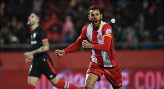 Top skor Girona Cristian Stuani mencetak gol, Sabtu. pada laga Liga Spanyol melawan Leganes.