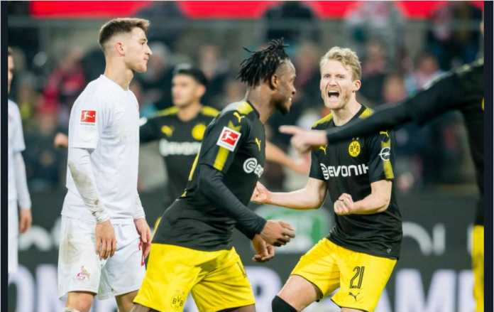 Mantan Chelsea Michy Batshuayi mencetak dua gol pada debutnya bersama Borussia Dortmund, Sabtu dinihari, saat menang 3-2 di kandang Koln dalam lanjutan Liga Jerman.