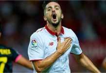 Pablo Sarabia merayakan gol untuk Sevilla dalam laga Liga Spanyol, Sabtu, di kandang Las Palmas, yang usai dengan skor 1-2.