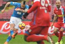 Marek Hamsik menerima satu kartu kuning dalam laga Liga Italia antara Napoli vs SPAL, Minggu 18 Februari 2018.