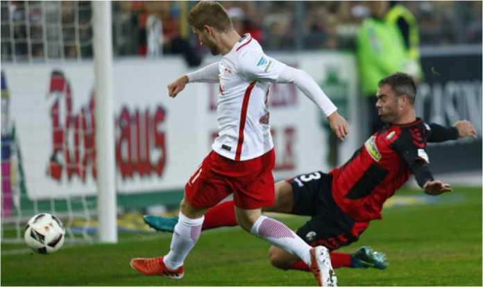 RB Leipzig berhasil mencetak dua gol dalam laga Liga Jerman melawan Augsburg, Sabtu.