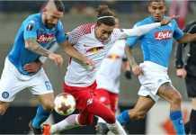 RB Leipzig bisa sakit jantung setelah kebobolan gol kedua dari Napoli pada menit-menit akhir, namun meski skor agregat 3-3, tim Liga Jerman itu unggul gol tandang karena pada leg pertama mereka menang 3-1.