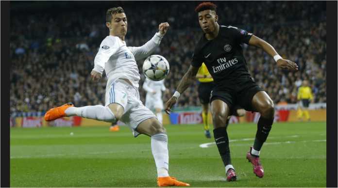 Aksi Cristiano Ronaldo dalam laga lawan PSG di leg pertama 16 besar Liga Champions, Kamis 15 Februari 2018, di Santiago Bernabeu.