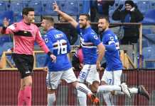 Para pemain Sampdoria merayakan gol-gol mereka ke gawang Udinese pada laga LIga Italia, Minggu 25 Februari 2018.