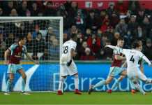 Sung Yueng-Ki mencetak gol bagi Swansea City saat mengalahkan tim kuat Burnley pada lanjutan Liga Inggris, Sabtu malam.