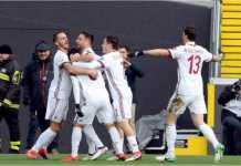 Suso dan rekan setim merayakan gol cepatnya di menit 9 pada laga Udinese vs AC Milan, Minggu malam.