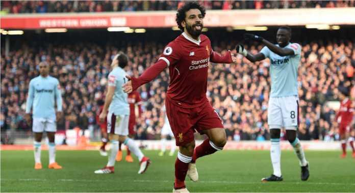 Mohamed Salah Merayakan Golnya Bagi Liverpool Pada Laga Liga Inggris Sabtu