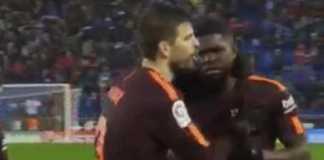 Samuel Umtiti jadi korban aksi rasis pemain Espanyol, saat Barca tandang ke RCDE Stadium dan bermain imbang 1-1, Senin (5/2) dinihari WIB.