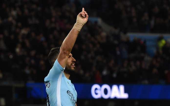 Sergio Aguero menggila, ia mencetak total empat gol saat laga antara Manchester City vs Leicester City dalam laga Liga Inggris