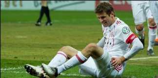Thomas Muller jadi korban kemenangan telak Bayern Munchen di kandang Paderborn, 6-0, di ajang DFB-Pokal, Rabu (7/2) dinihari WIB.