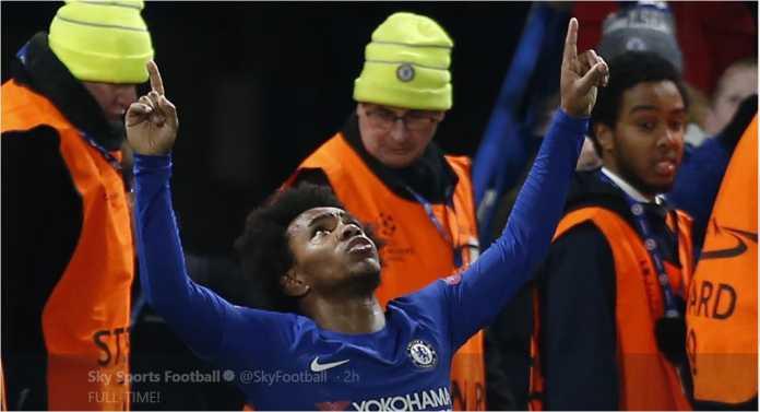 Willian merayakan golnya bagi Chelsea dalam laga 16 besar Liga Champions melawan Barcelona, yang usai dengan skor akhir 1-1.