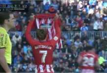 Striker Atletico Madrid Antoine Griezmann mencetak gol cepat 40 detik pada laga Liga Spanyol di kandang Malaga, Sabtu malam.