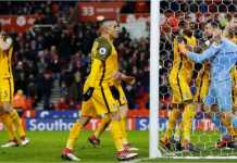 Kiper Mathew Ryan diberi ucapan selamat oleh rekan-rekannya usai menggagalkan tendangan penalti pemain Stoke City di detik-detik terakhir laga, yang ditutup dengan skor imbang 1-1.