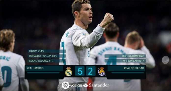 Cristiano Ronaldo mencetak hattrick komplit pada laga melawan Real Sociedad, Minggu, dengan kaki kiri, kaki kanan dan kepalanya. Ia kini mengantongi 11 gol dalam daftar top skor Liga Spanyol.