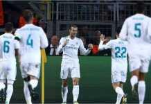 Para pemain Real Madrid merayakan gol yang dicetak Gareth Bale, baru-baru ini.